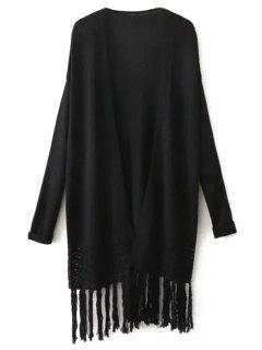 Fringed Hollow Out Cardigan - Black