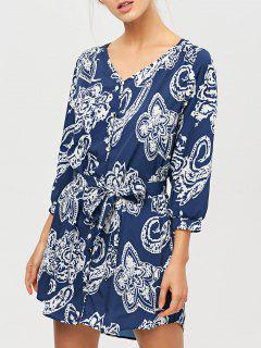 Vintage Printed Tunic Shirt Dress - Blue M