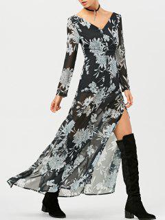 Robe Maxi Imprimée De Fleurs Et Avec Une Fente Haute - Noir Xs