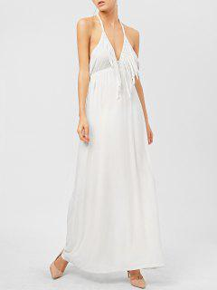 Backless Halter Fringe Low Cut Maxi Dress - White Xs