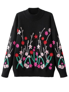 Floral Embroidered Crew Neck Jumper Sweater - Black S