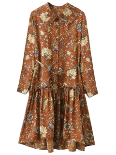 Pleated Collar Printed Drop Waist Shirt Dress - Brown