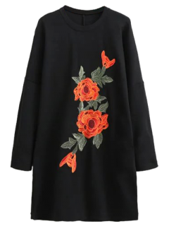 Floral Embroidered Long Sleeve Black Shift Dress - Black M
