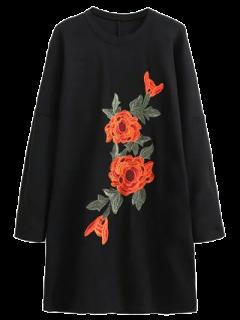 Sleeve Floral Brodé Long Sweatshirt Robe - Noir M