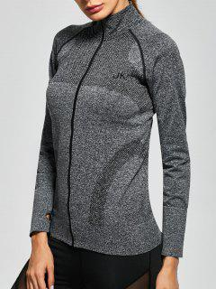 Quick Dry Zipper Work Out Running Jacket - Gray S