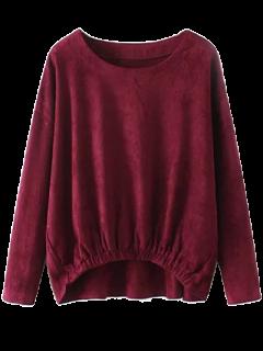 Suede Elastic Hem T-Shirt - Burgundy M