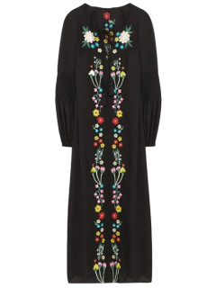 Floral Embroidered Lace Up Long Sleeve Dress - Black L