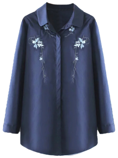 Plus Size Orchid Embroidered Shirt - Purplish Blue Xl