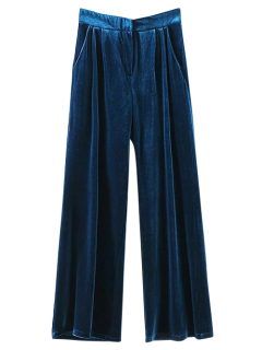 Velvet Wide Leg Palazzo Pants - Peacock Blue M