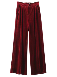 Velvet Wide Leg Palazzo Pants - Wine Red S