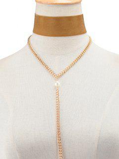 Collar De La Borla De Perlas De Imitación De Terciopelo Cadena - Marrón