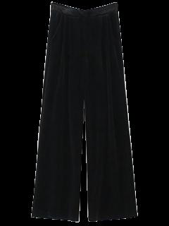 Velvet Wide Leg Palazzo Pants - Black S