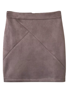 Fake Suede Mini Skirt - Smashing M