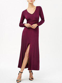 Belted High Slit Maxi Dress - Purplish Red M