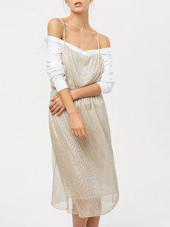 Shiny Midi Cami Dress - Champagne S