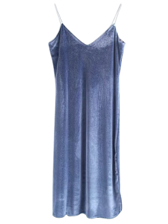 Cami Vestido De Terciopelo Midi - Azul Gris S