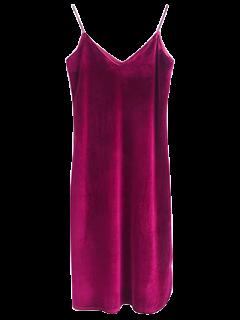 Cami Velvet Midi Dress - Wine Red S
