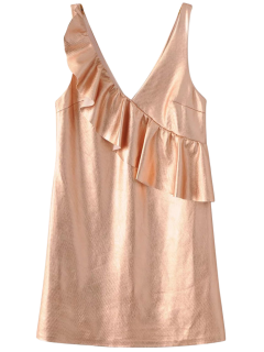 V Neck Ruffles Mini Tank Dress - Rose Gold Xs