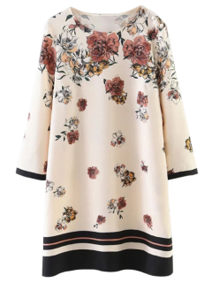Floral Pattern Shift Dress - Light Beige S