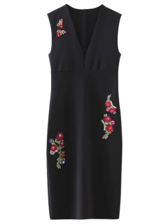 Floral Pattern V Neck Sheath Dress - Black S