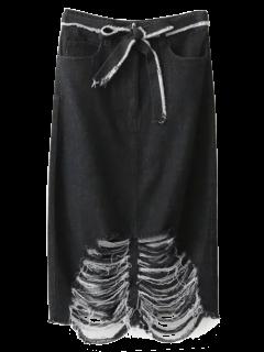 Jupe Moulante Nervurée En Jean - Noir S