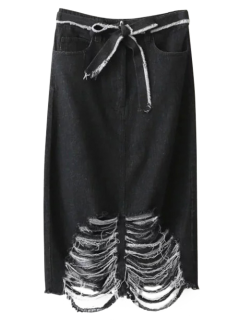 Ribbed Jean Skirt - Black S