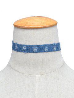 Denim Punk Choker Necklace - Blue