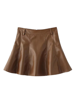 A Line PU Leather Mini Culotte Skirt - Brown M