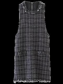 Rivet Sleeveless Frayed Hem Plaid Mini Dress - Black S