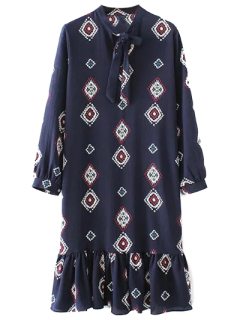 Bow Tie Collar Ruffles Printed Dress - Purplish Blue S