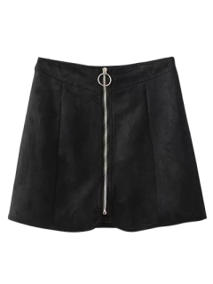 Suede Zippered Mini Skirt - Black S