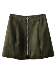 Suede Zippered Mini Skirt - Blackish Green S