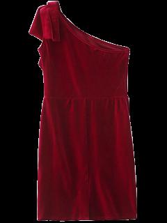 Uno De Terciopelo Colmena Del Hombro Vestido Lápiz - Vino Rojo S