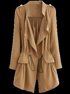 Epaulet Drawstring Coat - Khaki L