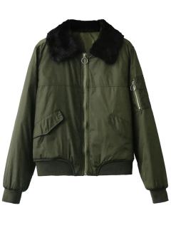 Fur Collar Padded Cargo Bomber Jacket - Army Green S