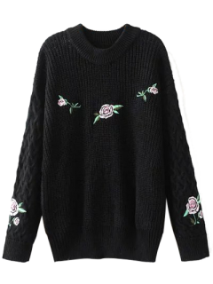 Cable Knit Floral Embroidered Jumper - Black S