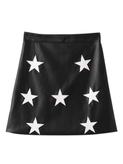 PU Leather Star A-Line Skirt - Black S