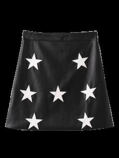 Jupe PU Cuir étoile  - Noir S