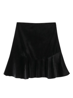 Flounced Velvet Mini Skirt - Black S