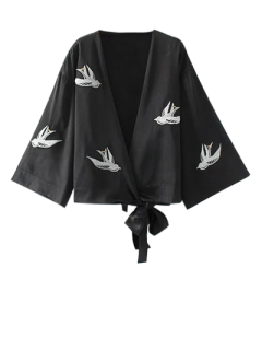 Bowknot Bird Embroidered Jacket - Black M