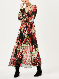 Robe Longue Florale Et Transparente De Forme Surplis à Col V - Floral S
