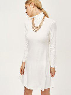 Turtle Neck Mini Swing Dress - White S