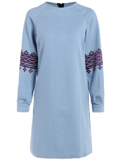 Embroidered Sleeve Denim Tunic Dress - Light Blue S
