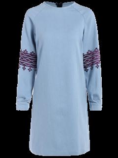 Robe En Coton Brodée Et Aux Manches Longues - Bleu Clair L