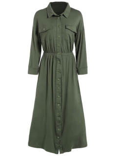 Midi Shirt Military Dress With Pockets - Army Green S