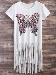 Butterfly Print Fringe T-Shirt - White 2xl
