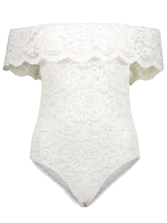 Off Shoulder Flounced Lace Bodysuit - White S
