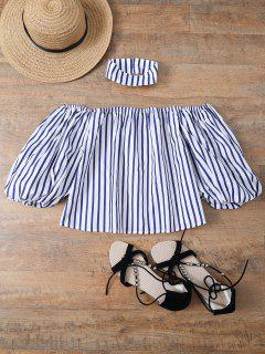 Striped Off Shoulder Choker Blouse - Stripe S