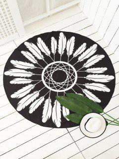Feather Printed Sarong Beach Throw - Black