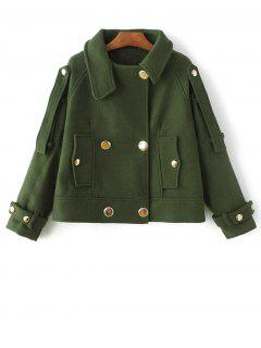 Cropped Wool Blend Bridge Coat - Army Green M